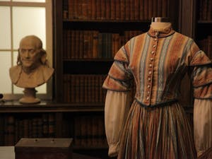 Costumes make up part of a PlayMakers Repertory Company exhibit in Davis Library.