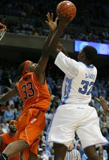 Ed Davis led North Carolina in three offensive categories Sunday night. DTH/Will Cooper