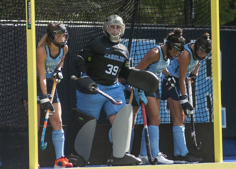 From left, UNC redshirt first-year goalkeeper Cassie Halpin (28), senior goalkeeper Alex Halpin (39), junior back Courtnie Williamson (25), and redshirt first-year back Romea Riccardo (11) prepare to block Old Dominion from scoring a goal on Sunday, October 27, 2019 at Karen Shelton Stadium. UNC won 1-0.