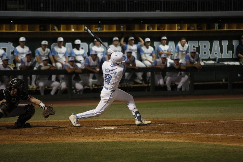 Junior Ike Freeman (8) bats for the Tar Heels during UNC's 12-4 win over Davidson on April 10 at Boshamer Stadium.