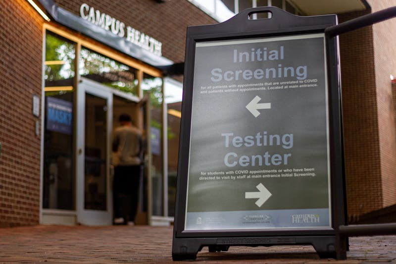 Students enter the coronavirus testing center at UNC Campus Health on Aug. 18, 2020. As of Aug. 17, UNC has tested 954 students for COVID-19.