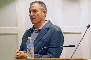 Frank Bruni, UNC Alumnus and current op-ed columnist for the New York Times, answers questions after a speech.