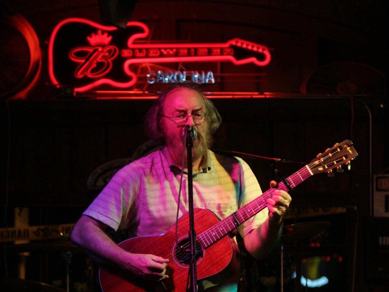 Whit Price plays a short set at Tuesday night's Open Mic with Bill West,  a new feature at Katy at the Bayou in Hillsborough. Previously known as the Blue Bayou Club, the new bar plans to expand its entertainmen