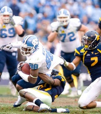 Hakeem Nicks? heroics couldn?t carry the Tar Heels in the second half against West Virginia. Nicks had three catches for 36 yards after halftime.