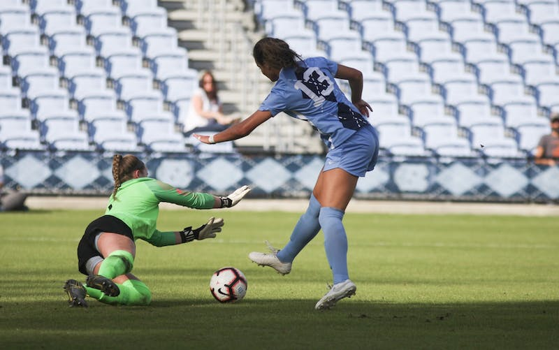 Freshman forward Isabel Cox (13)  attempts a goal in the first half of the Heel's ACC regular-season title win against Virginia Tech on Sunday, October 27, 2019.