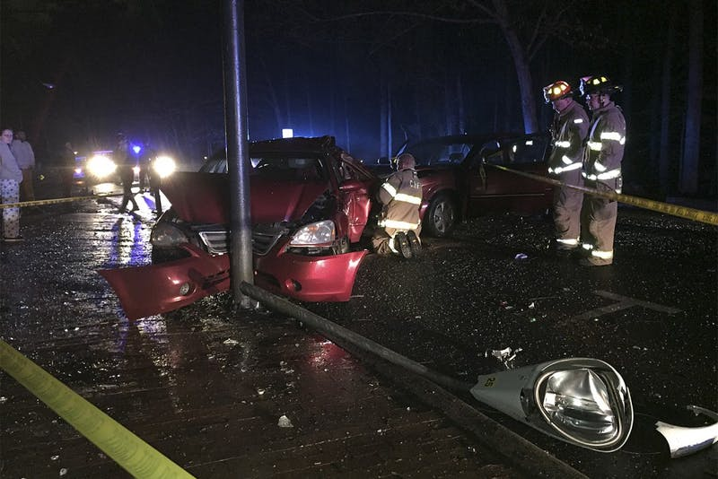 A driver crashed into a parked vehicle on Country Club Road behind Cobb Residence Hall early Wednesday morning and fled the scene before police arrived.