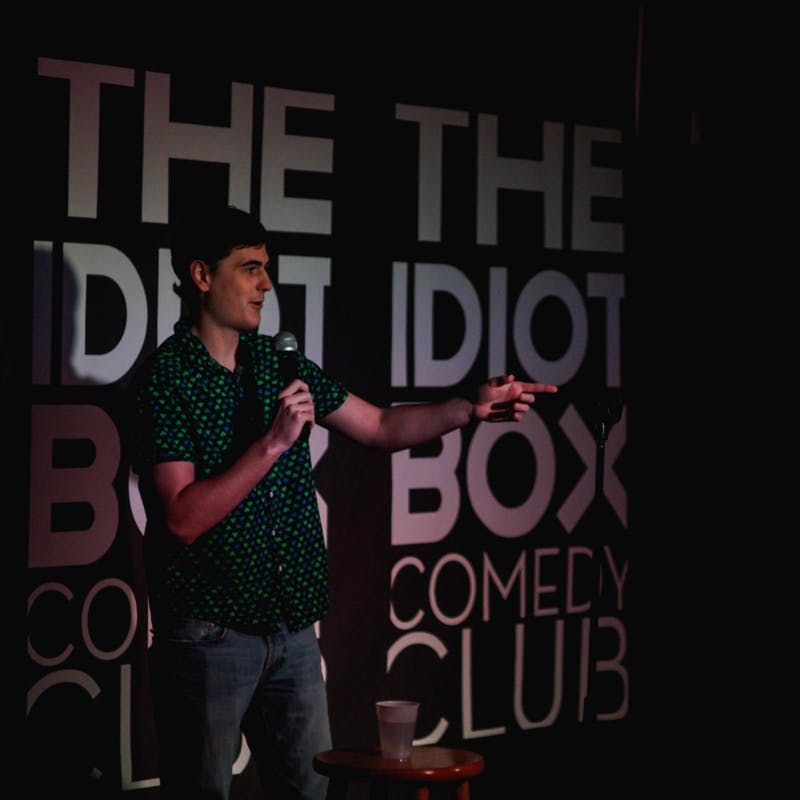 Comedian Russell Goodwill performing at the Idiot Box Comedy Club. Goodwill is a member of the Deadpan Comics Society. Photo courtesy of Russell Goodwill.