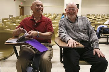 Bill Prinack (left) and Fred Shectman are non-UNC auditors who attend Matt Andrews' Sport and American History class.