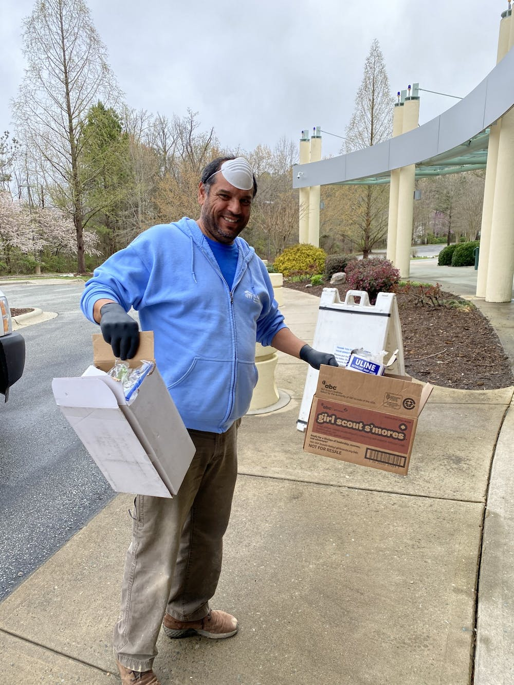 Construction Manager Jesús Gutierrez at a recent donation drop-off. UNC Health has asked for PPE donations from around the Triangle in the wake of COVID-19. Photo by Jennifer Player.