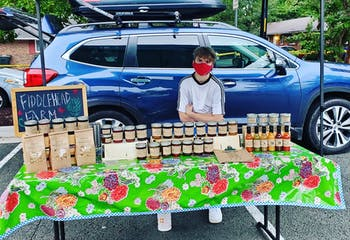 The Carrboro Farmer's Market has continued to run during the pandemic, with changes to allow for safety. Photo courtesy of Emily Boynton from Fiddlehead Farm.