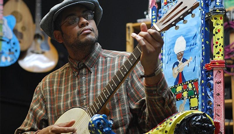 Profile are of Dom Flemons of the Carolina Chocolate Drops in his studio Music Maker Relief Foundation in Hillsborough.