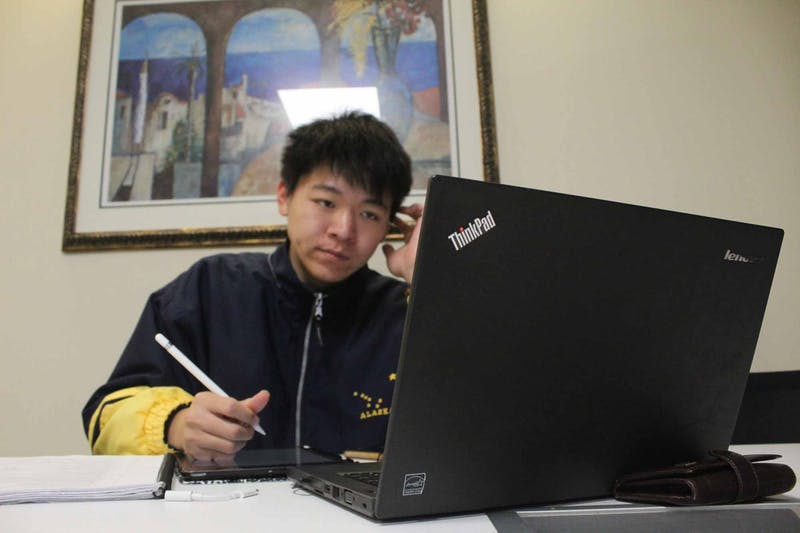 First-year Daniel Sang studies for upcoming midterms in Davis Library on Tuesday Feb. 25, 2020.