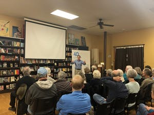 Professor Charles Kurzman lecturing on the few Muslims that are part of terrorist groups. This lecture was part of the Humanities in Action series put on by Carolina Public Humanities.