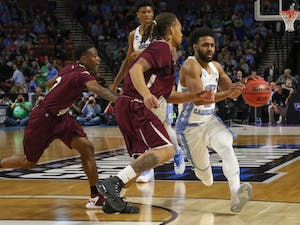 North Carolina guard Joel Berry (2) drives in against Texas Southern in the first round of the NCAA Tournament in Greenville on Friday.