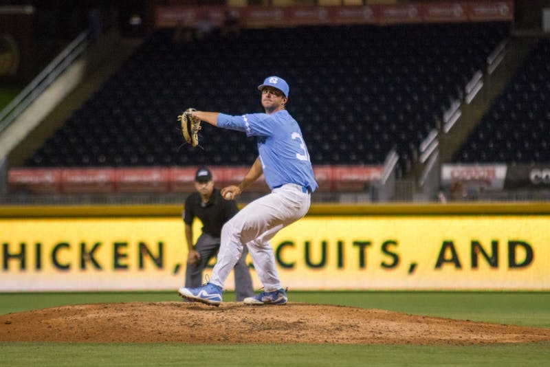 Redshirt sophomore pitcher Josh Hiatt (31) comes in as relief during Carolina's ACC tournament loss to Pittsburgh on May 23.