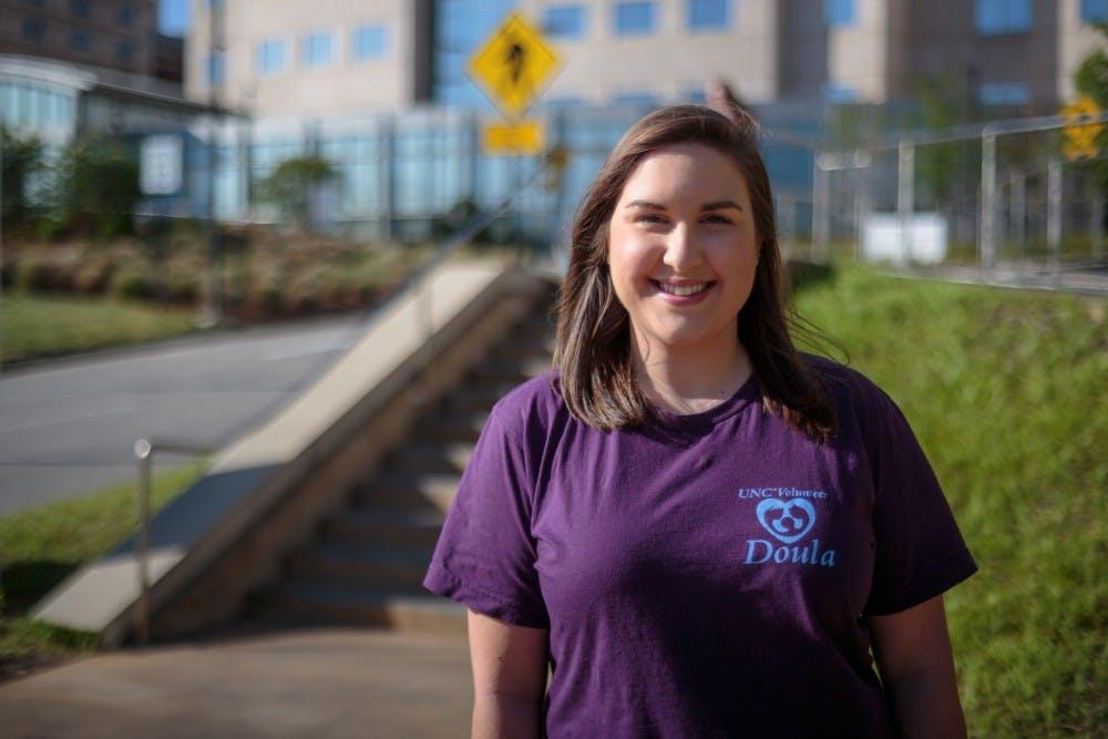 <p>Senior Psychology major Leah Daniel volunteers as a Doula at the UNC Hospitals.</p>