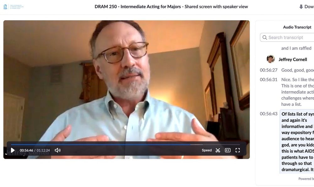 <p>Professor Jeffrey Cornell remotely teaches DRAM 250, Intermediate Acting for the Major, over Zoom. Photo courtesy of Jeffrey Cornell.</p>