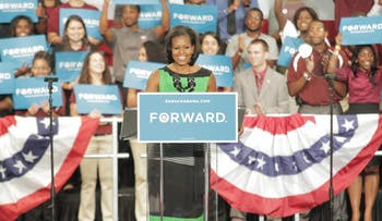 Michelle Obama speaks at NC Central University in Durham about reelecting Barack Obama for the 2012 election.