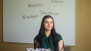 Samantha Townsend, sophomore computer science and mathematics double major and creator of @stem357, poses for a portrait at her dorm on Tuesday June 1, 2021.