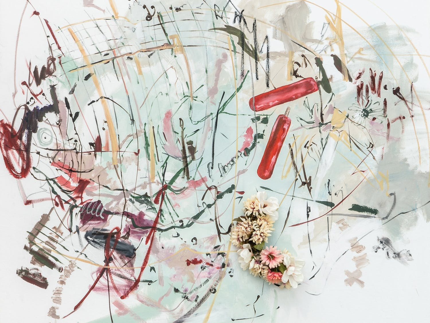 Carmen Neely's piece 'In an alternate reality', 2018, oil on canvas, faux flower crown, 81 x 63 inches. Photo courtesy of Carmen Neely and Jane Lombard Gallery.