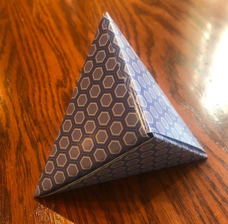 Origami hexahedron made by Aaron Sugarman.