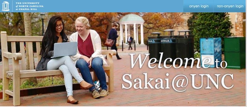 A screenshot of the Sakai homepage