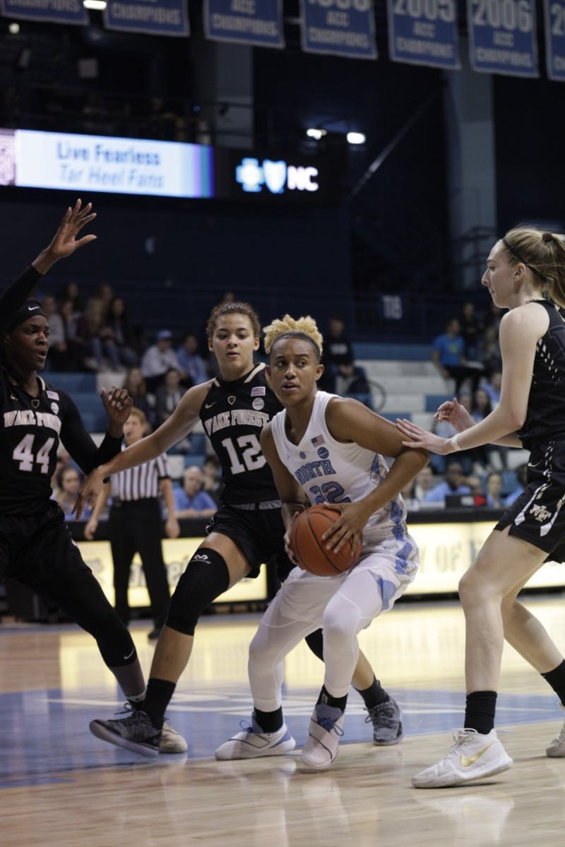 Senior guard Paris Kea (22) looks to pass the ball during a game against Wake Forest in Carmichael Arena on Thursday, Jan. 17, 2019. UNC won 84 to 61.