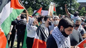 People gather in Raleigh on Saturday May 15, 2021 to protest the Israeli Palestine conflict. Photo courtesy of Nadeen Atieh.