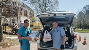 Carolina Brewery delivers 40 meals to UNC healthcare workers on April 6. Photo courtesy of Feed the Fight's Facebook page.