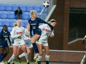 Freshman midfielder Aleigh Gambone (16) charges downfield looking for a scoring opportunity against Belmont in the first-round of the NCAA tournament on Dorrance Field on Saturday, November 16, 2019. UNC beat Belmont 5-0.