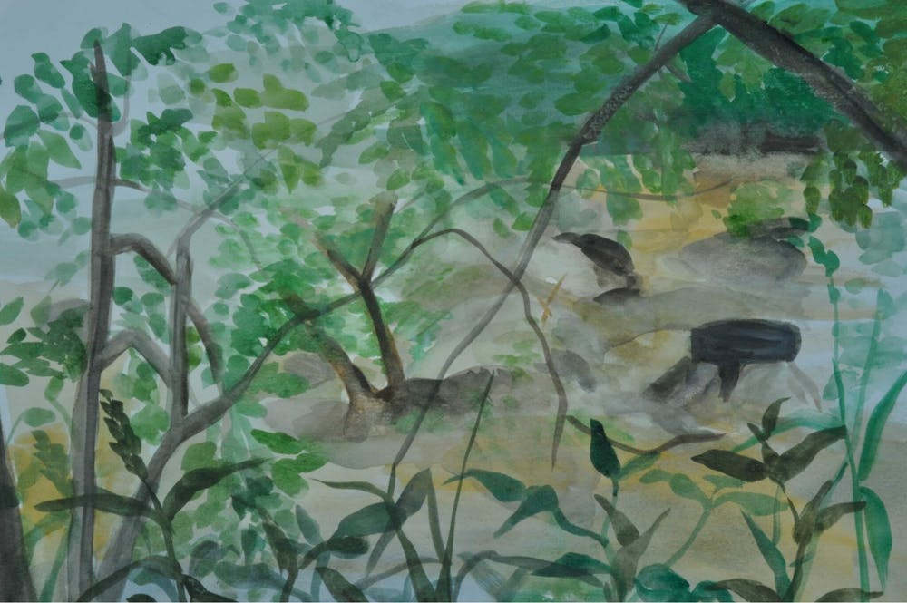 "<p>""Haw River,"" by Sheemoo Tatataw of the Karen Youth Art Group. The FRANK Gallery's many community outreach programs include Karen refugees ranging from ages 15 to 25 years old, many of whom were born in Burma or refugee camps in Thailand.&nbsp;Photo courtesy of the FRANK Gallery.</p>"