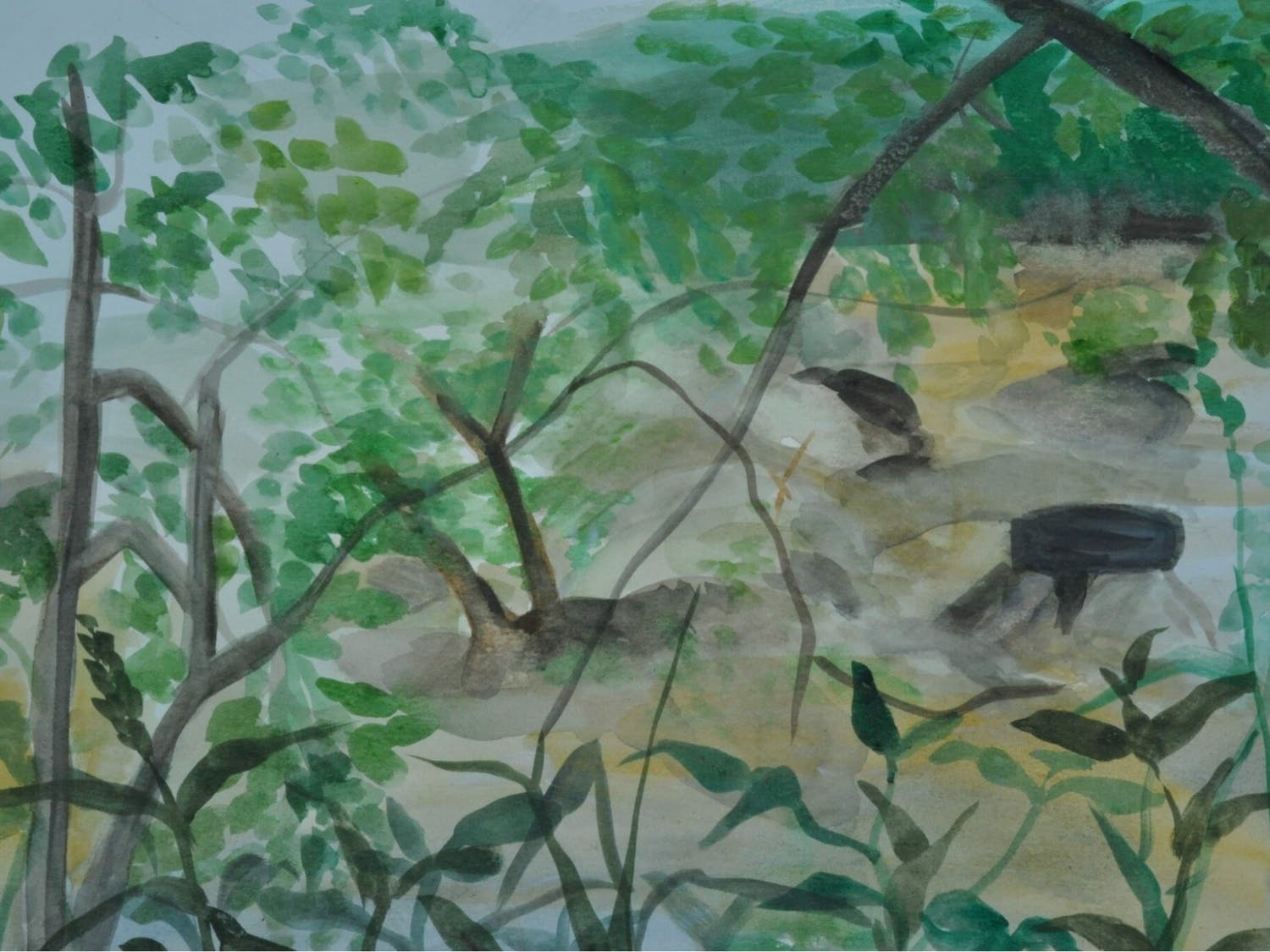 """Haw River,"" by Sheemoo Tatataw of the Karen Youth Art Group. The FRANK Gallery's many community outreach programs include Karen refugees ranging from ages 15 to 25 years old, many of whom were born in Burma or refugee camps in Thailand. Photo courtesy of the FRANK Gallery."