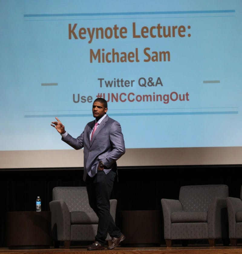 Former NFL player Micheal Sam spoke at the Carolina Union on National Coming Out Day about what it meant to be the first openly gay player in the NFL.
