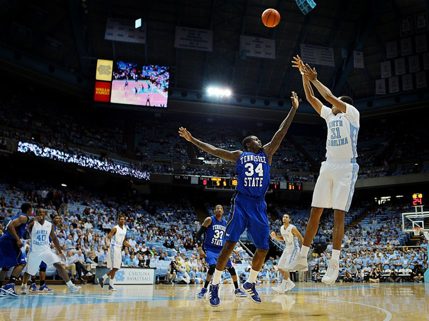 UNC forward John Henson shoots a jump shot during the game against Tennessee State.