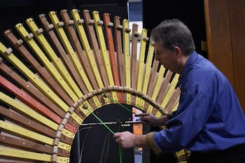 Paul Dresher plays with the instrument he named 'peacock' in preparation for the grand opening of Carolina Preforming Arts new space, CURRENT.