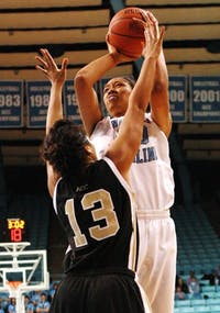 Chay Shegog managed 10 points on just 3-for-12 shooting, but pulled down seven boards for the Tar Heels.