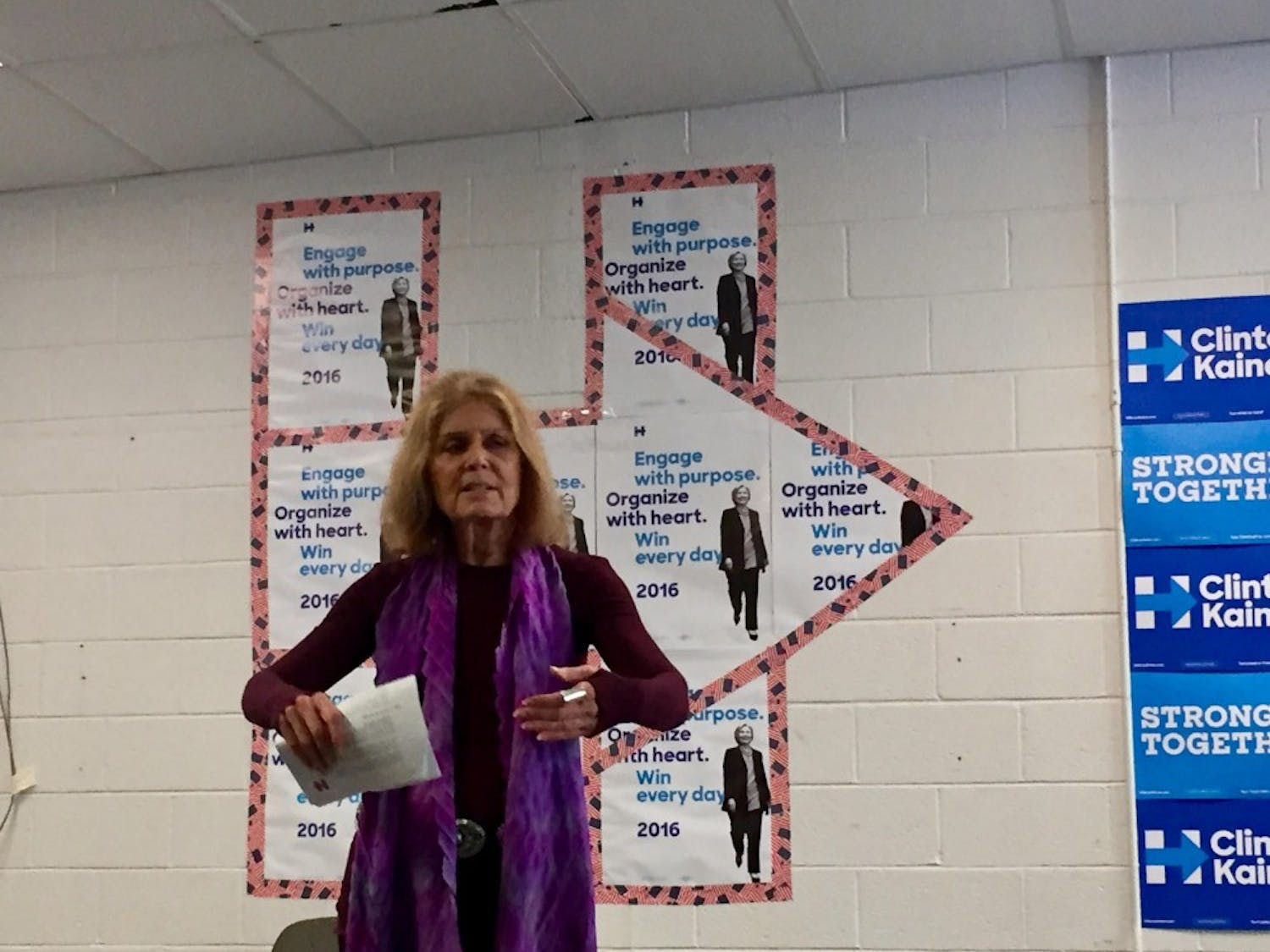 Gloria Steinem spoke in Carrboro to campaign for Hilary Clinton.