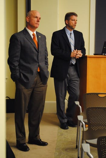 Jeff McCracken and Dean Penny held a discussion and presentation on their new five-year plan for transportation and parking at UNC in 2011.