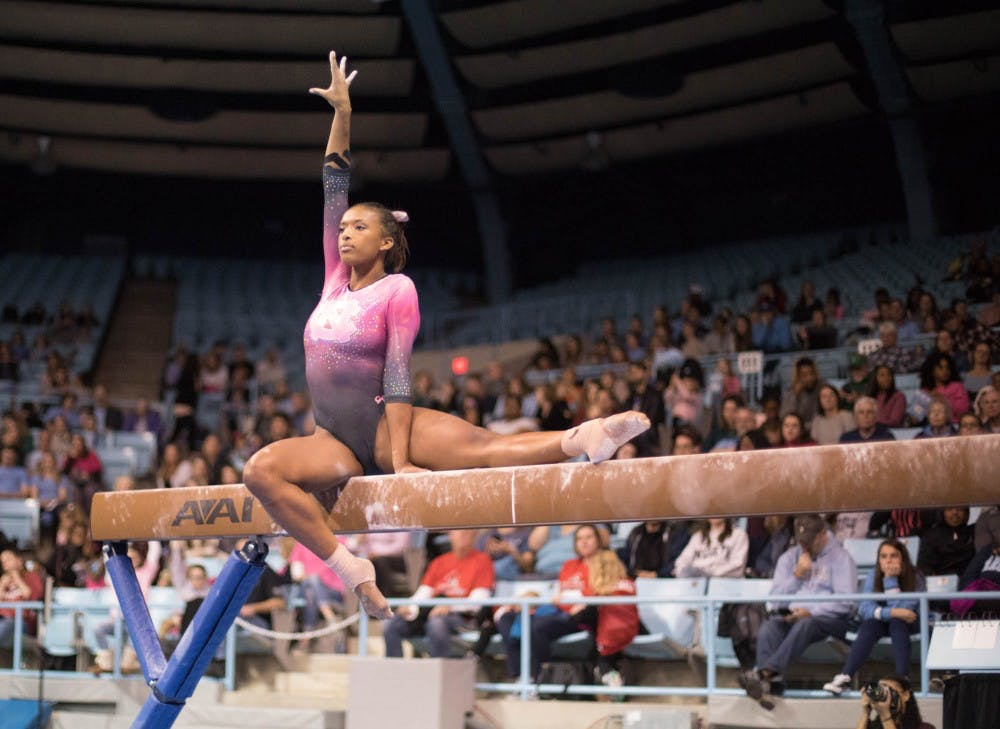 Hislop dominates in second place finish for the North Carolina gymnastics team