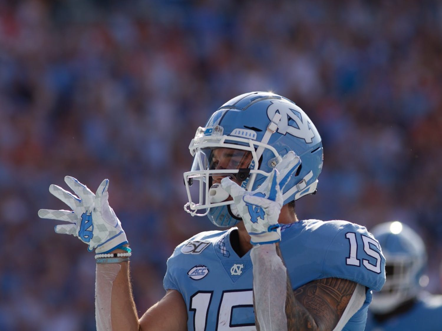 UNC wide receiver Beau Corrales (15) celebrates his touchdown reception during the football game against Clemson on Saturday, Sept. 28th, 2019 at Kenan Memorial Stadium. UNC lost to Clemson 21-20.