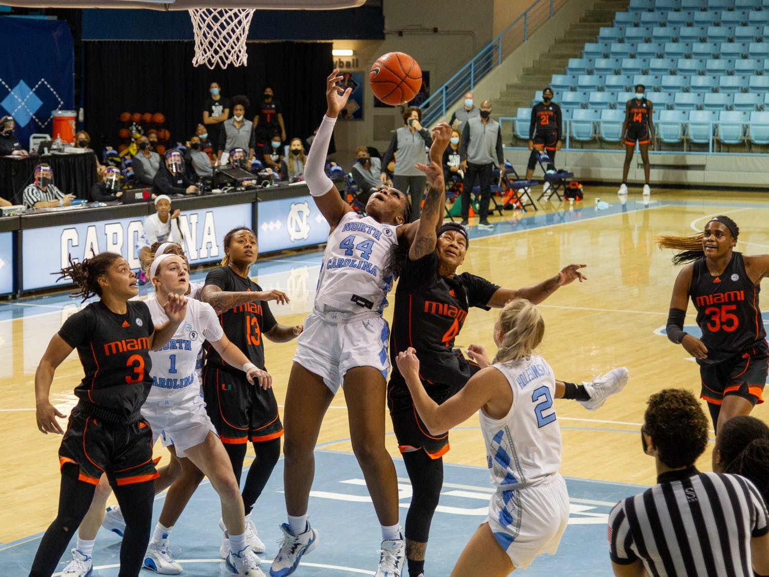 UNC senior center Janelle Bailey (44) shoots the ball at the game against Miami at Carmichael Arena on Sunday, Jan. 10, 2021. UNC fell to Miami 69-59.