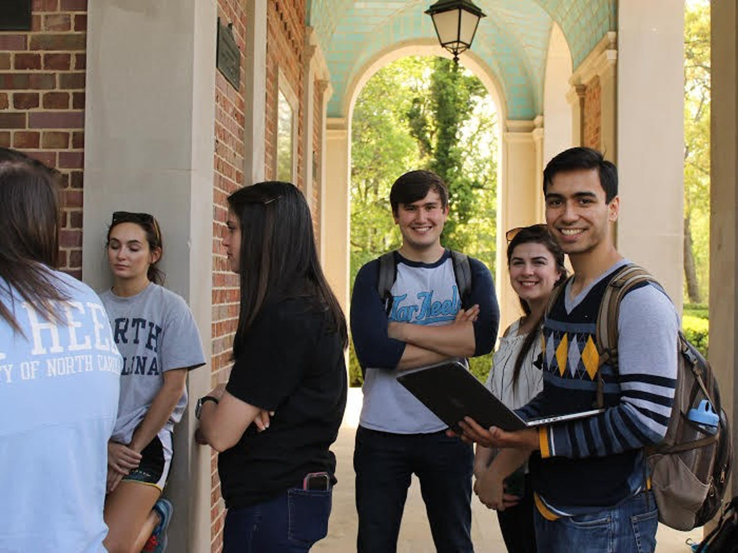 Seniors wait in line to take part in the tradition of climbing Morehead-Patterson Bell Tower on April 18.