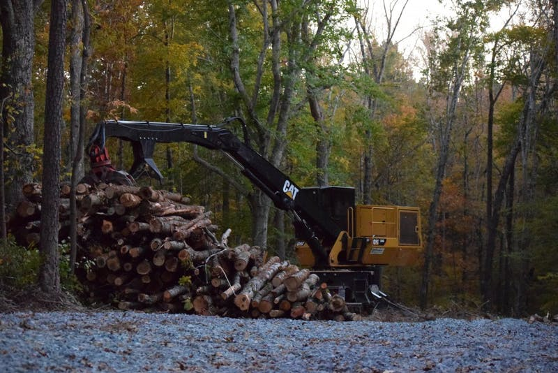 Construction equipment sits in P.H. Craig Forest on Saturday, Nov. 3, 2018. The forest, which is private property of P.H. Craig, was set to be cleared in June of this year, but construction did not officially begin until Wednesday, Oct. 31.
