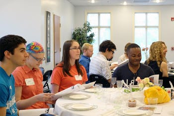 Member of the Chapel Hill Jewish and LGBTQ communities gather at the Chapel Hill Hillel for seder.