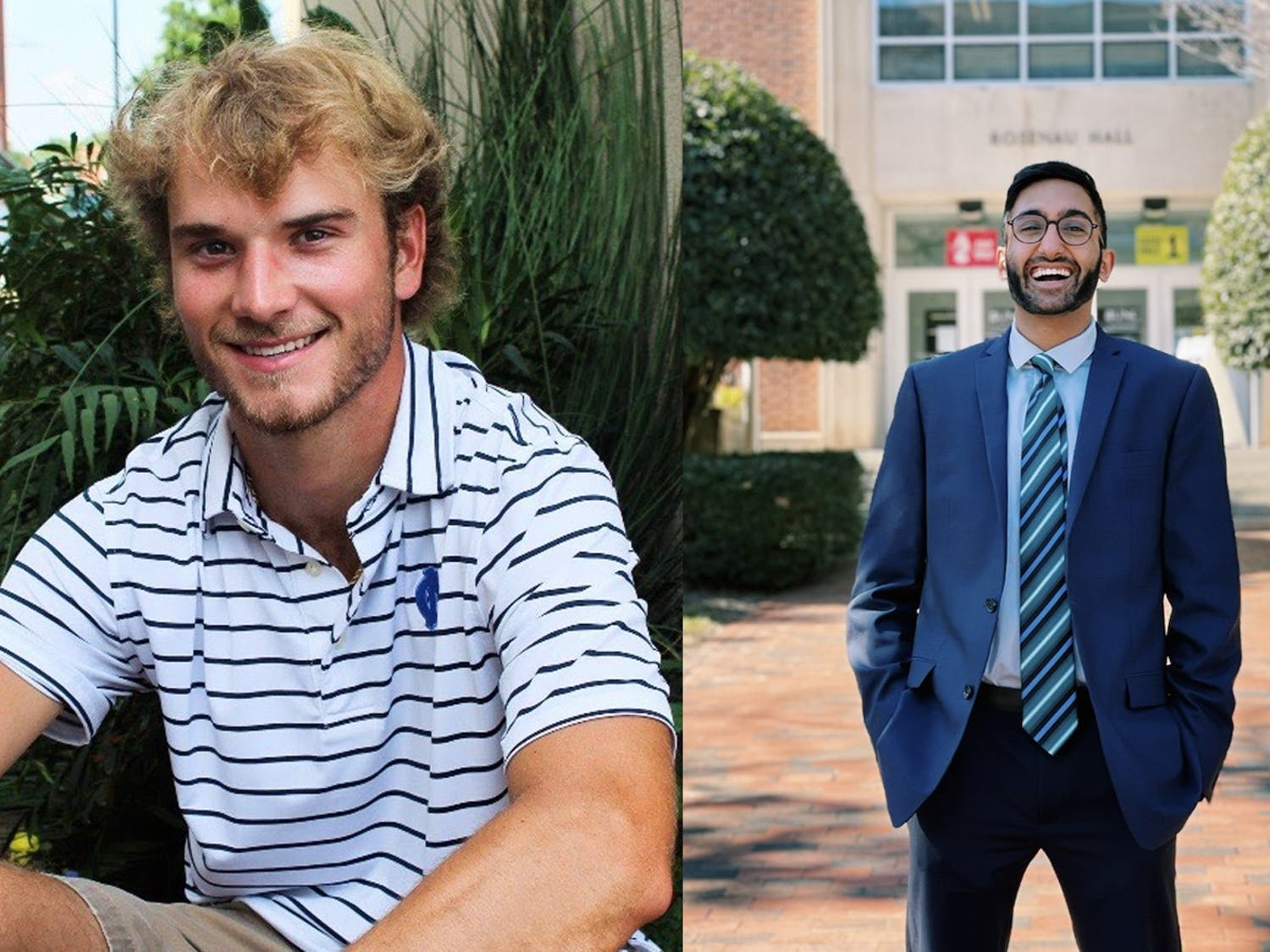 Kade Sutton (left) was elected president of the Carolina Athletic Association run-off election while Neel Swamy (right) was elected president of the Graduate Professional Student Government. Photos courtesy of Sutton and Swamy.