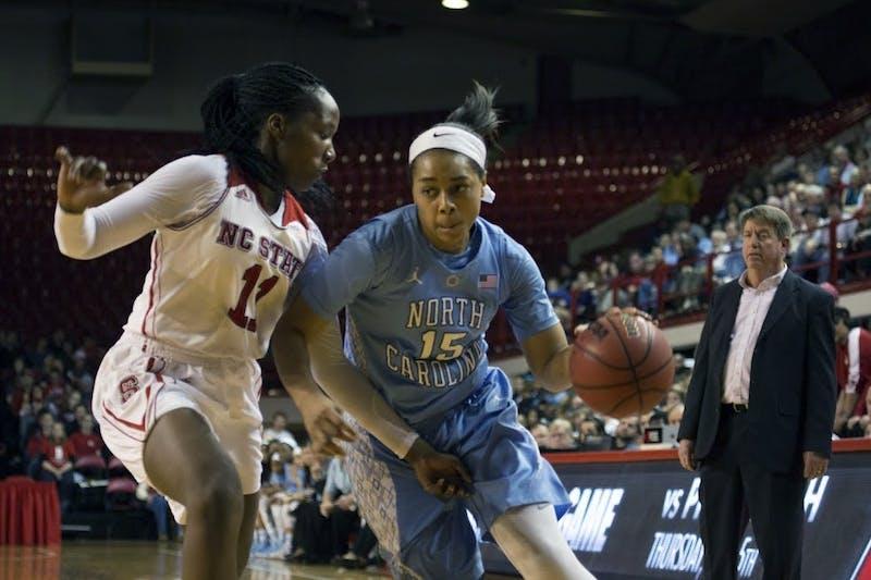 UNC guard Allisha Gray (15) dribbles past N.C. State forward Jennifer Mathurin (11) on Thursday.