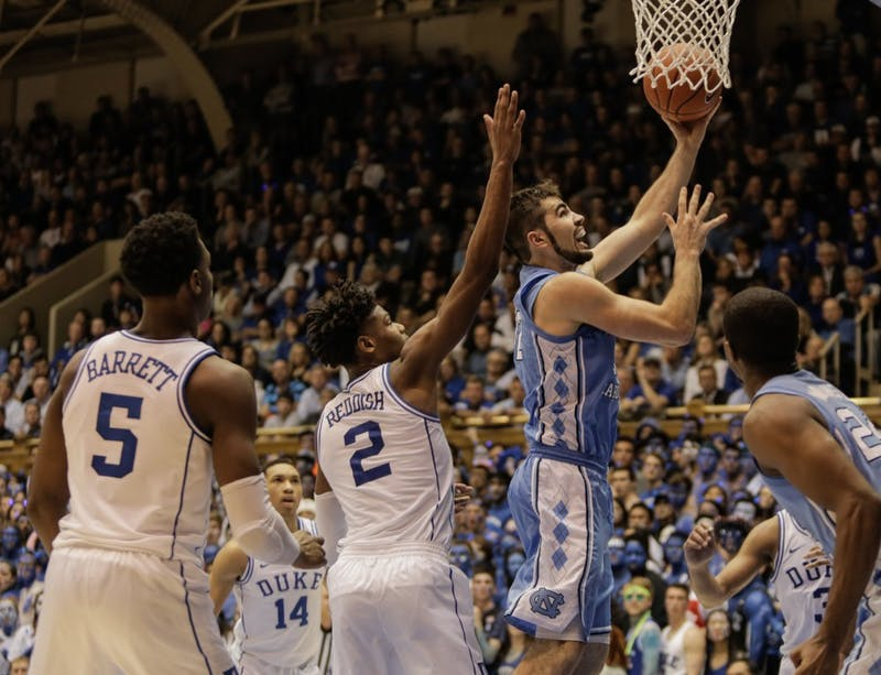 UNC forward Luke Maye (32) takes a shot during Wednesday night's game at Cameron Indoor Stadium. Maye scored 30 points and had 15 rebounds.