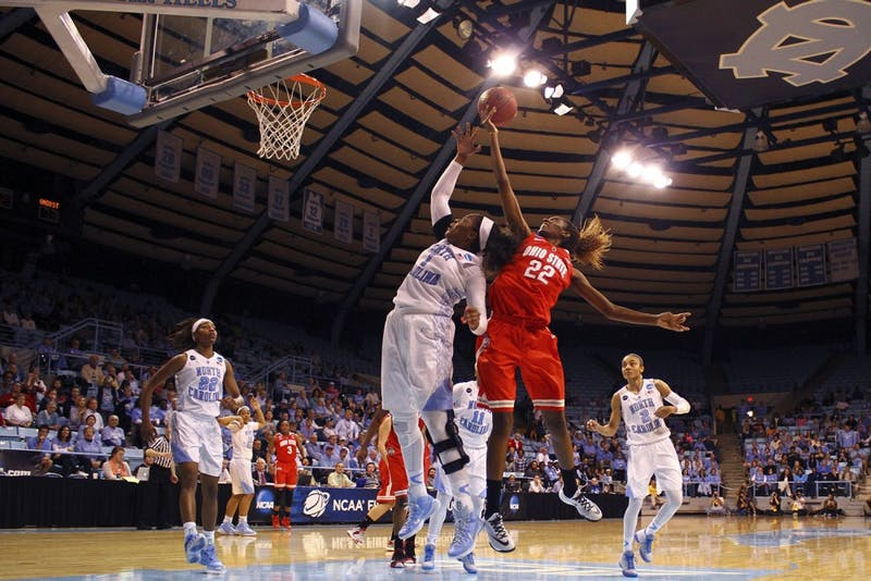 North Carolina  forward Stephanie Mavunga (1) battles for a rebound during Monday night's thrilling win against Ohio State.