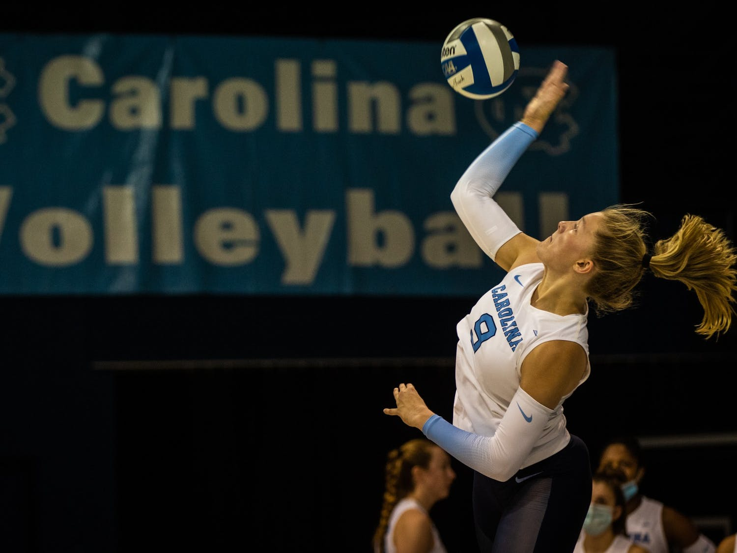 In the Sept. 18 game against Davidson, freshman outside hitter Mabrey Shaffmaster (9) serves the ball. UNC won three out of three sets.