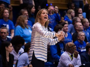 UNC head coach Courtney Banghart signals to players during the game against Duke on Thursday, Feb. 6, 2020 at Cameron Indoor Stadium. UNC fell to Duke 61-71.